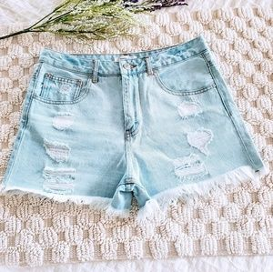 Forever 21 Distressed High Waist Jean Shorts 26